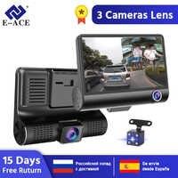 E-ACE Car DVR Câmeras de Lente 4.0 Polegada 3 Câmera Traço de Lente Dupla Com Câmera Retrovisor Dvrs Video Recorder Auto Registrator traço Cam