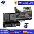E-ACE carro dvr 3 câmeras lente 4.0 Polegada traço câmera dupla lente com câmera retrovisor gravador de vídeo auto registrador dvrs traço cam