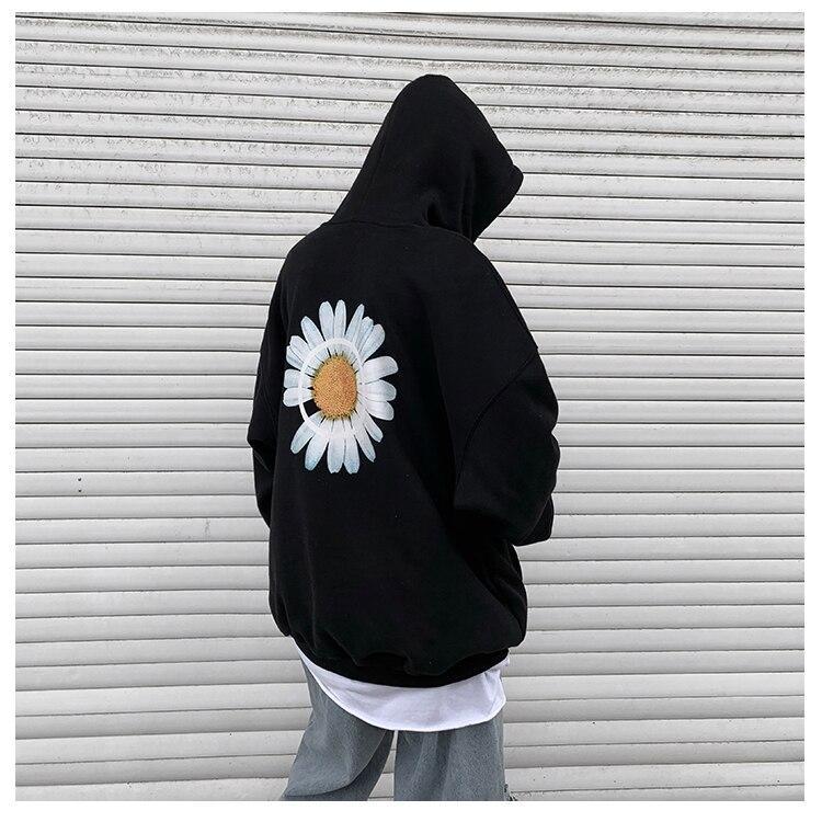 Mens Harajuku Hoodies Fleece Thick Sweatshirts Male Autumn Korean Oversized Hoodies Streetwear Print Flower Spring Casual Hooded
