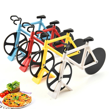 Bike Pizza Cutter Knives Non-stick Two-wheel Bicycle Shape Pizza Cutting Knife With Holder Stainless Steel Pizza Tool Kitchen