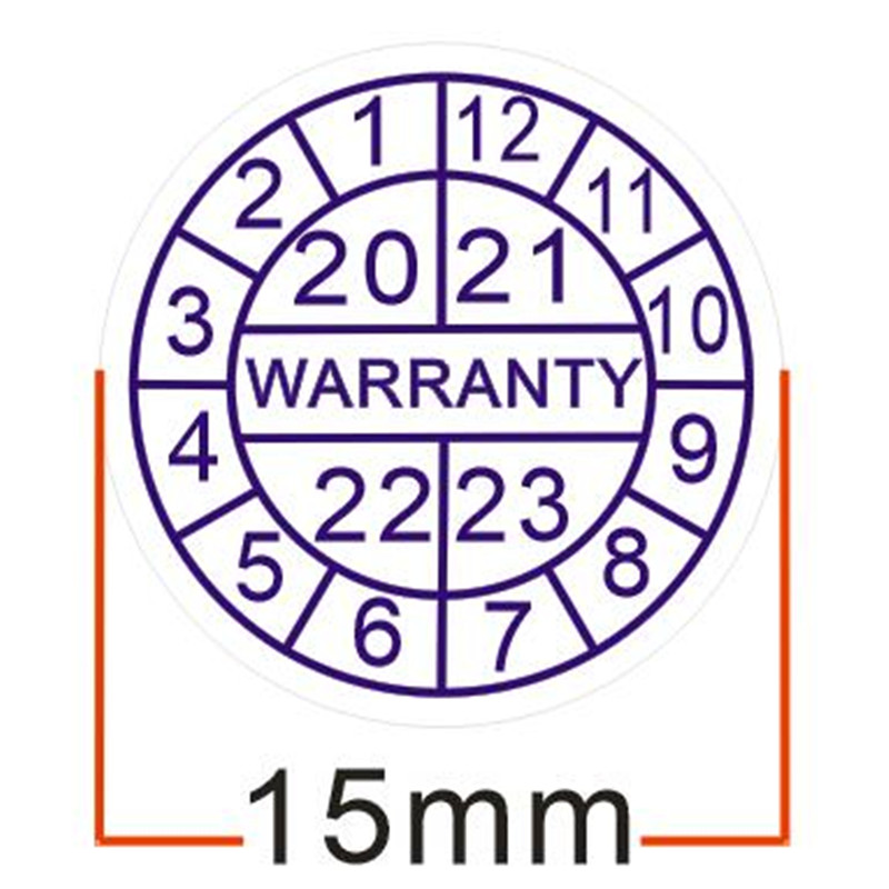 500pcs/lot Warranty Sealing Label Crispness Sticker Void If Damaged, With Years And Months, Diameter For 15 Mm Free Shipping