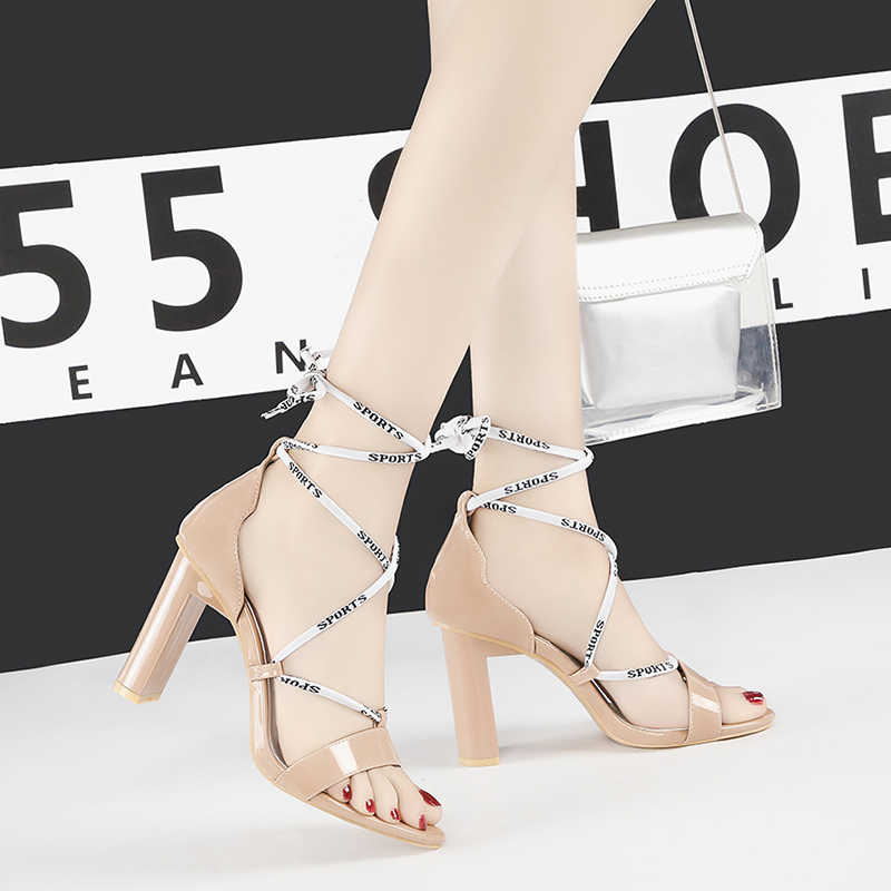 lace up high heels sexy sandals block heel party shoes woman open toe sandalia feminina fashion shallow buty damskie NO.55 Shoes