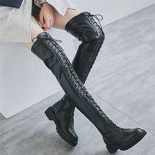 women cow leather stretchy high heel over the knee high military boots round toe wedges platform pumps slim leg fashion sneakers Punk Creepers Women Lace Up Straps Over The Knee High Riding Boots Female Round Toe Thigh High Fashion Sneakers Platform Pumps