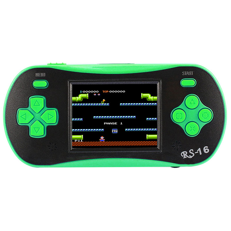 Rs-16 Children'S Classic Handheld Video Game Player 2.5 Inch 8 Bit Game Console Built In 260 Classic Games Green