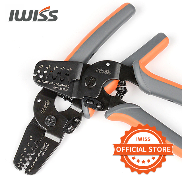IWISS מסופי Crimping כלים IWS 2412M/IWS 2820M עבור מלחץ AWG24 12/AWG28 20 ריבה, Molex, טייקו, JST מסופים ומחברים