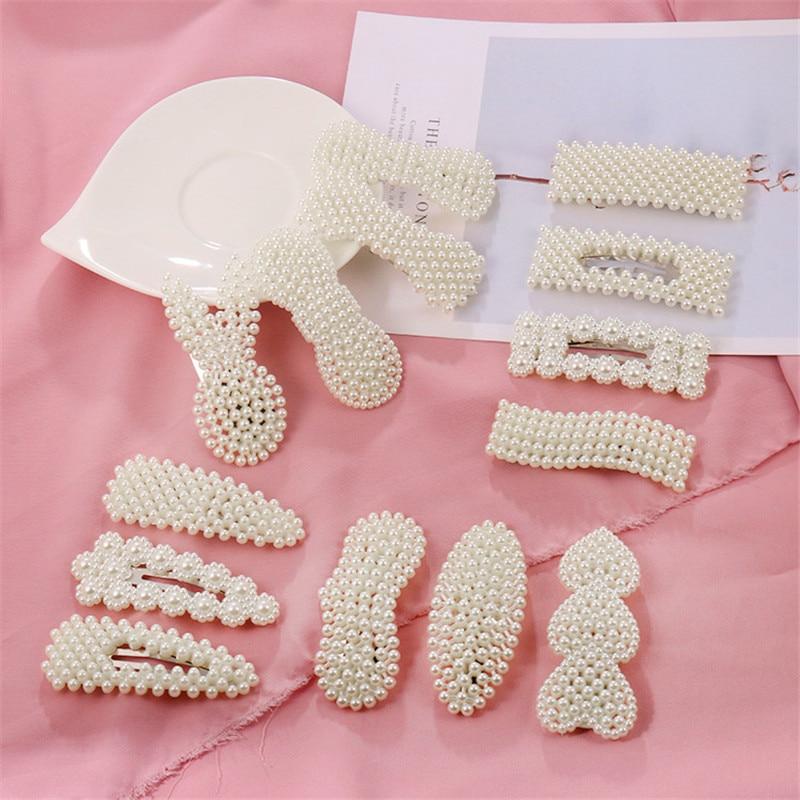 1PC Korea Imitiation Pearl Flower Hair Clips For Women Geometric Waterdrop Heart Shape Hairpin Hair Accessories Jewelry