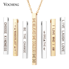 Necklace Jewelry-Bar Customized Stainless-Steel Women Name Pandent Engraved Quote SL-011