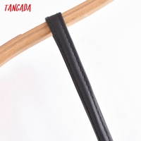 Tangada Women Black Faux Leather Short Dress Sleeveless Backless 2021 Fashion Party Dresses QN205 3