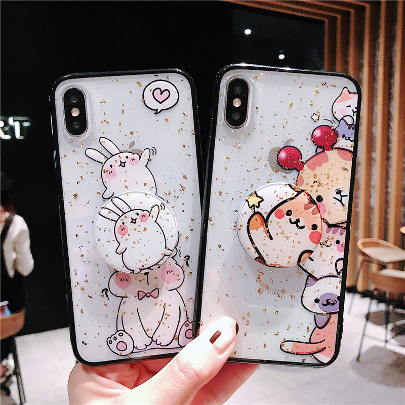 Bling Cartoon Animal Phone Case with Bracket For iPhone XS Max XR X 8 7 6S 6 Plus Soft Gold Foils Glitter Camera Phone Cover image
