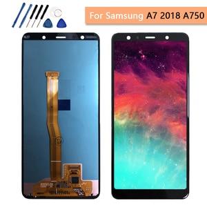 Image 1 - 6.0 AMOLED 100% اختبار لسامسونج غالاكسي A7 2018 A750 LCD SM A750F A750F عرض اللمس إحلال تركيبات الشاشة محول الأرقام