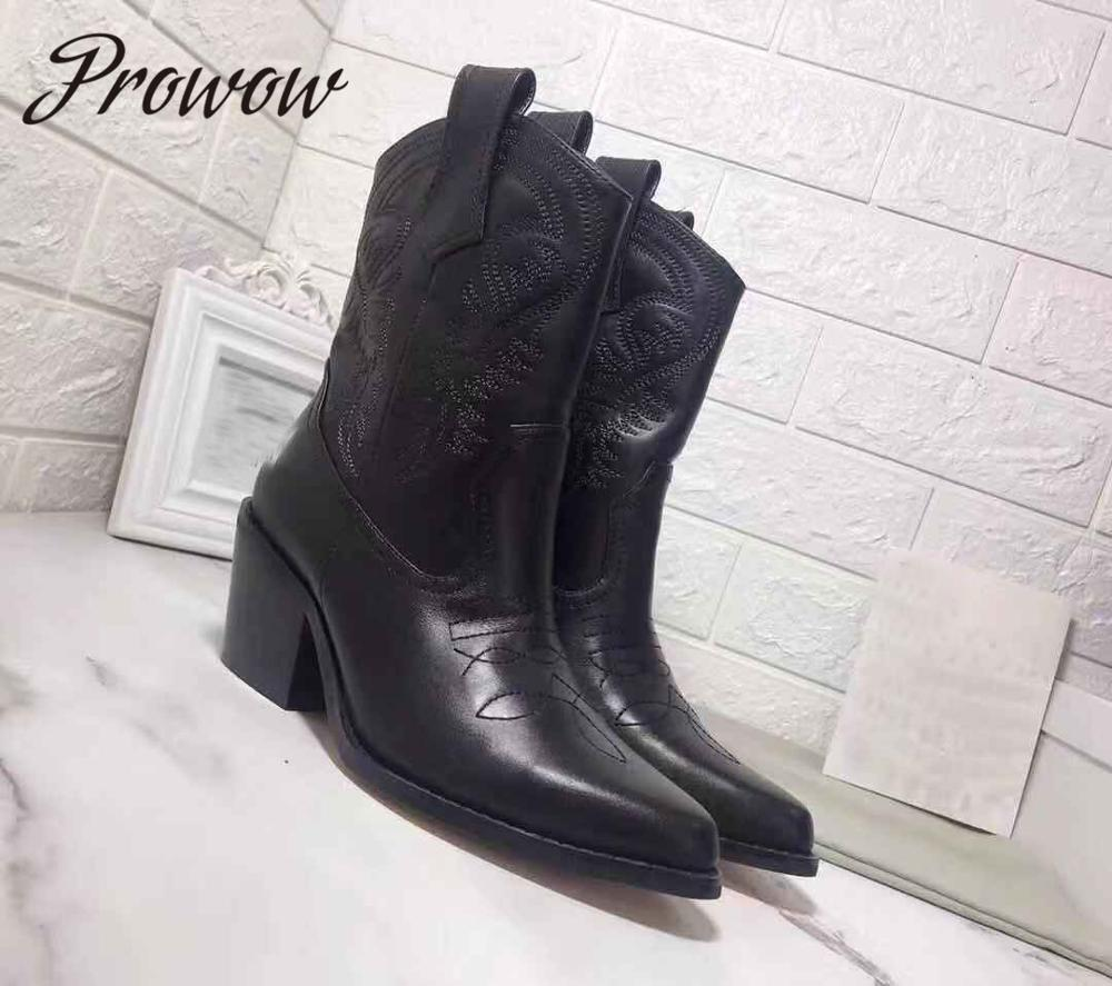 Prowow New Genuine Leather Slip On Women Boots  Sexy Pointed Toe Thick Heel Autumn Winter Cowboy Boots Branded
