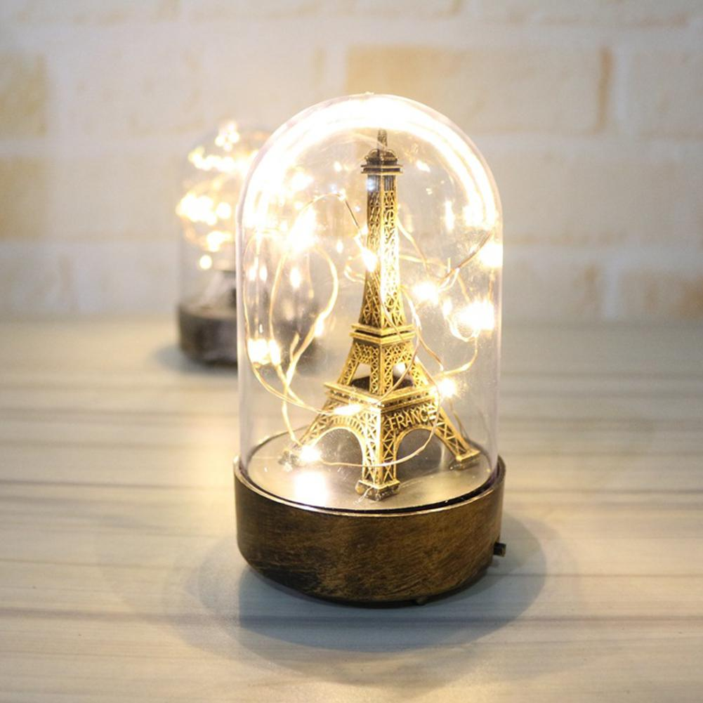 DishyKooker Eiffel Tower Light Ornaments Family Supplies Night Lamp Glass Cover Light Valentine's Day Birthday Gift