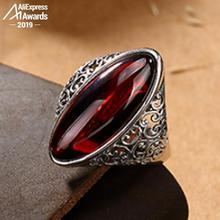 S925 grzywny antyczne sklep rubinowe pierścienie kobiety Handmade Vintage naturalny Marquise duży kamień Retro rubinowo czerwony jaspis agat