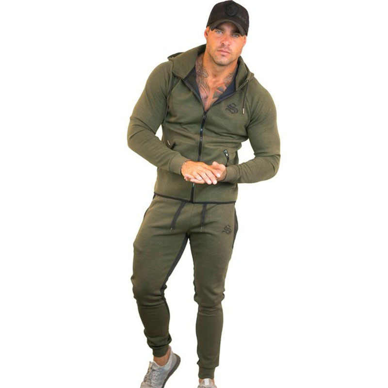 Autumn Men Sportswear tracksuit Zipper Pocket Hooded Jacket Long Sweatpant Casual Jogger Running Workout Outfit Sport Clothes