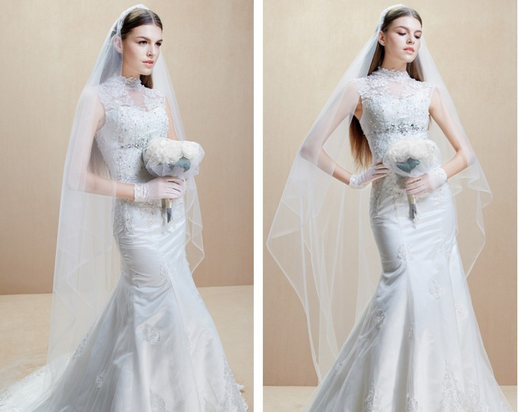 2018 Hot Sale Vestido De Noiva Curto High Neck Crystal Romantic Casamento Long Mermaid Bridal Gown Mother Of The Bride Dresses