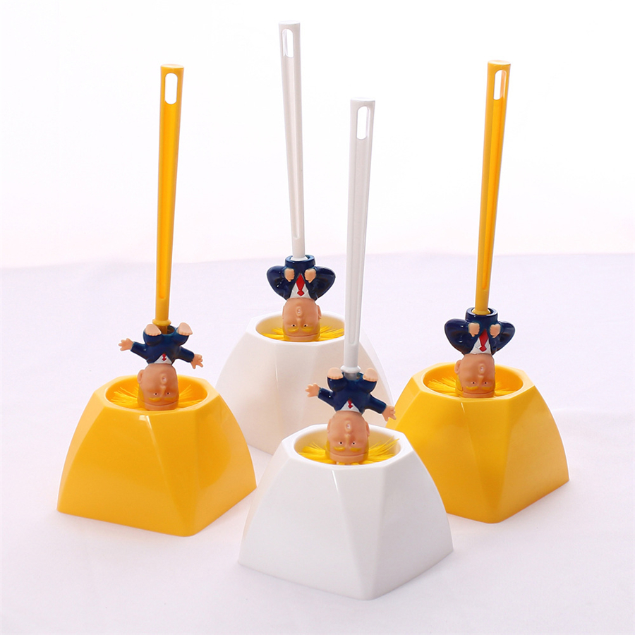 Creative Trump Toilet Brush Holder Donald Trump Toilet Brush Head Silicone Bathroom WC Cleaning Brushes Set Cleaner Yellow Brush