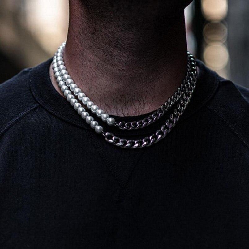 Нержавеющаясталь Майами-цепочка с половиной 8 мм Жемчуг Цепочки и ожерелья для Для мужчин и Для женщин Для мужчин