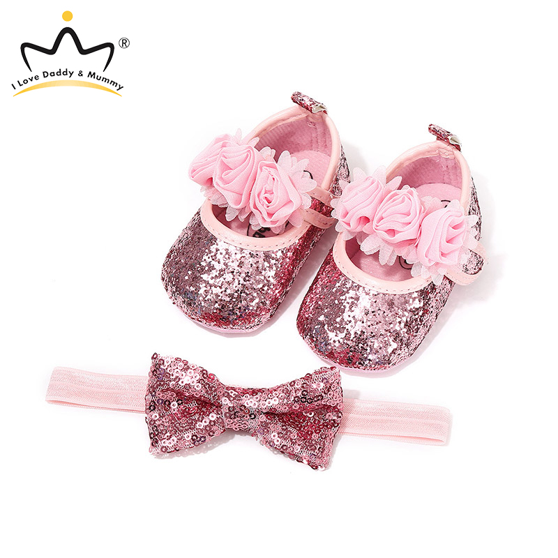 Lovely Sequin Baby Shoes 2 Pcs/set Newborn Baby Girl Headband And Toddler Shoes Flower Children's Infant Shoes Booties Schuhe