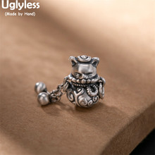 Uglyless Thai Silver Handmade Lucky Cat Pendants for Women 925 Silver Balls Tassels Necklaces NO Chain Animals Vintage Jewelry
