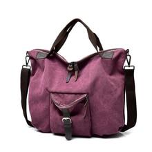 Womens Handbag Large Pocket Casual Tote Travel Shoulder Bag Capacity Canvas Leather For Women 2019 Handbags Shopping BagBig