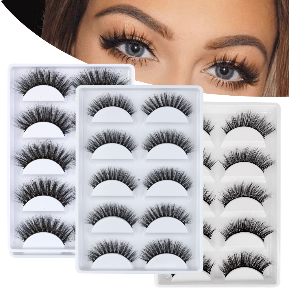 NEW Hot 5 Pairs 100% Mink Eyelashes 3D False Lashes Makeup Fake Eyelash Extension Faux Cils Natural Fluffy Volume Soft Eye Lashe