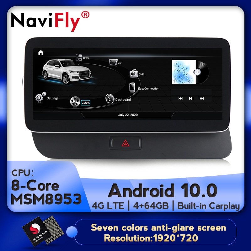 Navifly MSM8953 4 Гб + 64 ГБ Android 10,0 автомобильный мультимедийный плеер для Audi Q5 8R 2009-2016 навигация GPS Carplay 4G LTE WIFI DSP