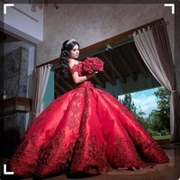 Sweet Sixteen Red Quinceanera Dresses For Girls Vestido 15 anos azul Satin Off Shoulder Appliques Long Ball Gown Prom Dress