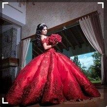 Słodkie szesnaście czerwone sukienki Quinceanera dla dziewczynek Vestido 15 anos azul Satin Off ramię aplikacje długa suknia balowa sukienka na studniówkę