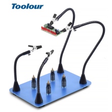 Toolour Magnetic PCB Board Fixed Clip Flexible Arms Soldering Third Hand Stainless Steel Base PCB Holder Welding Repair Tool