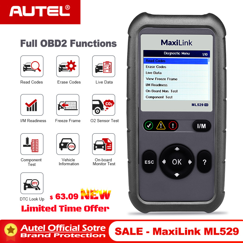 Autel Maxilink ML529 Diagnostic Scanner Tool OBDII EOBD OBD2 Auto Check Engine Light DIY Fault Code Reader with Enhanced Mode 6