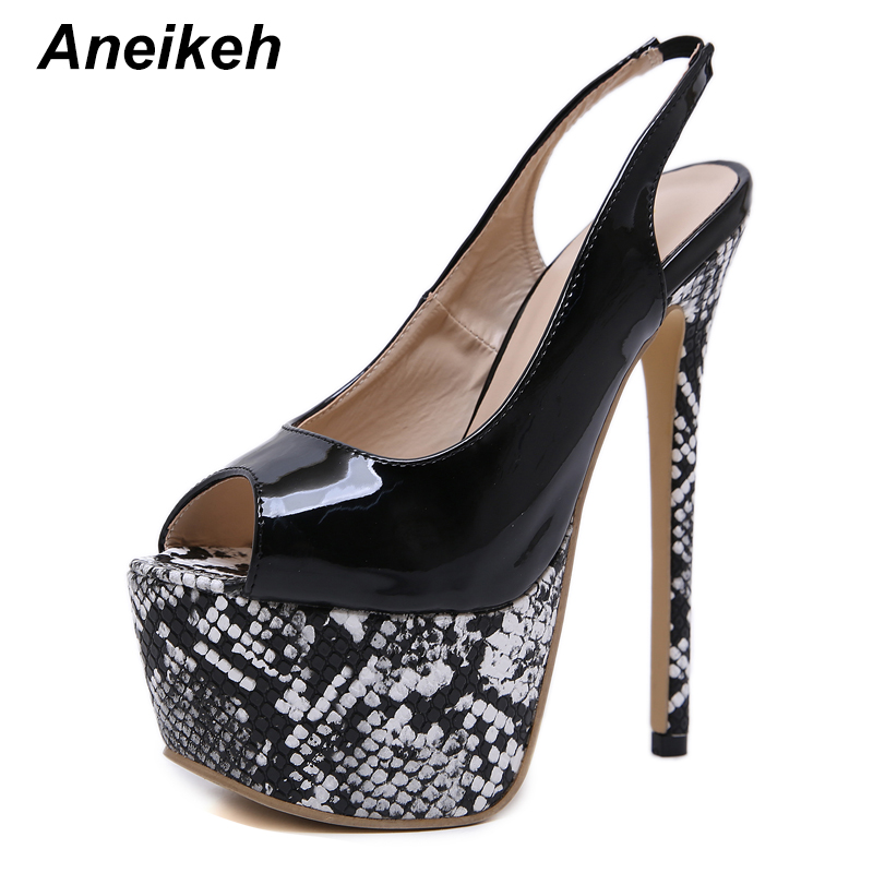 Aneikeh NEW Patent leather <font><b>Sexy</b></font> 16CM <font><b>Extreme</b></font> <font><b>High</b></font> <font><b>Heels</b></font> Platform Peep Toe Fashion Dress Lady Thin <font><b>Heel</b></font> Pumps Wedding <font><b>Fetish</b></font> <font><b>Shoe</b></font> image