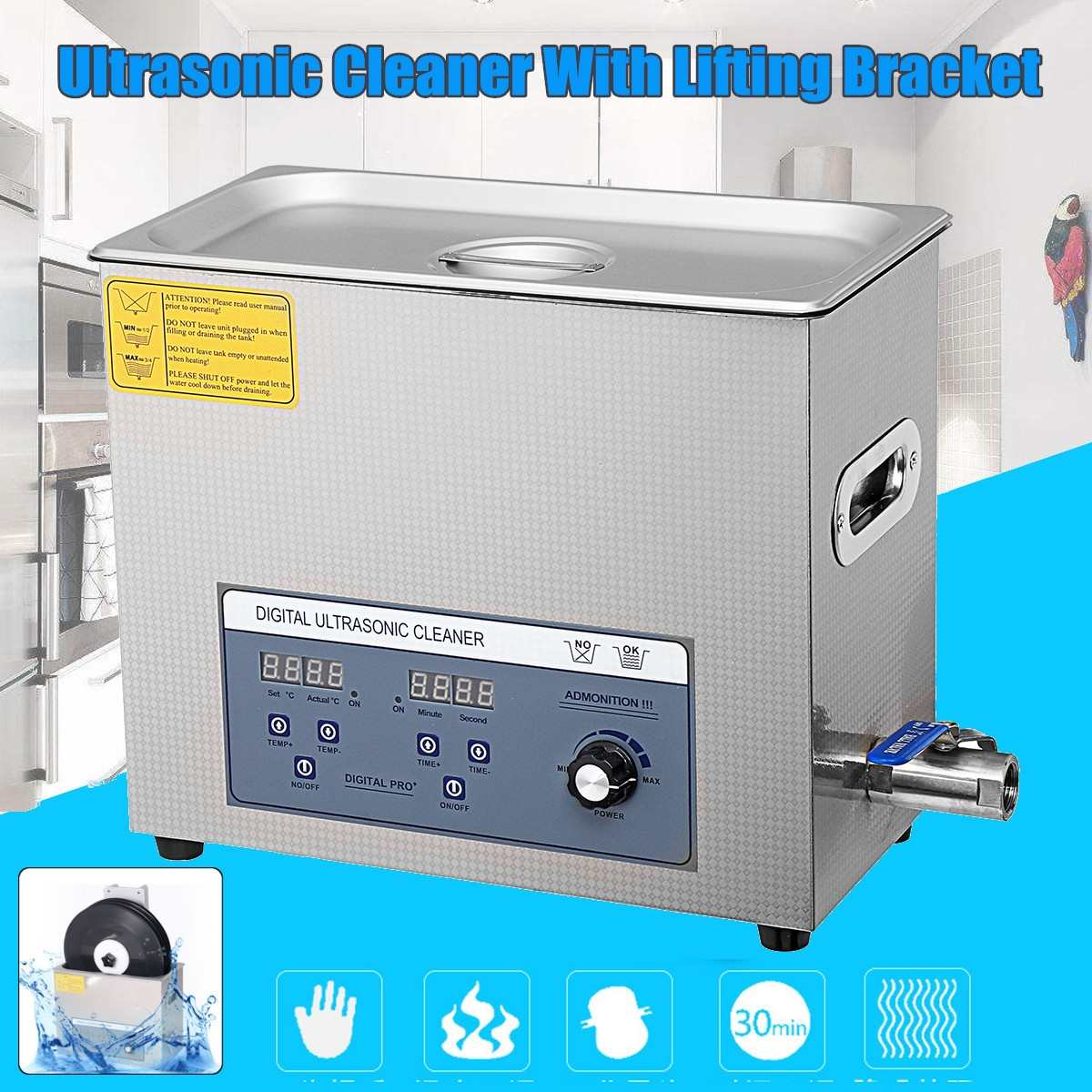 Profissional de 6l 220 v liftable lp álbum disco digital ultra sônico mais limpo vinil registro lavagem ultra som máquina limpeza portátil - 3