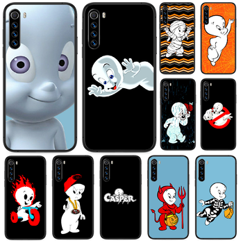 Cartoon Casper cute genius Phone case For Xiaomi Redmi Note 7 8 8T 9 9S 4X 7 7A 9A K30 Pro Ultra black back soft coque tpu image