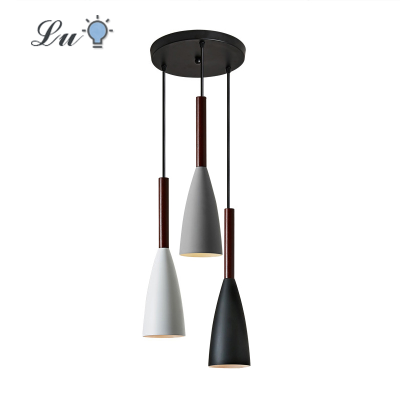 LED Pendant Lights Nordic E27 Solid wood Iron Art Three Heads Hanging Lamp Kitchen Bedroom Study Restaurant Lighting Fixtures
