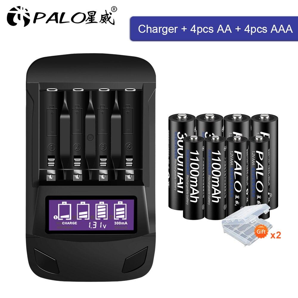 PALO оригинальный AA AAA перезаряжаемый аккумулятор aa 1,2 V NIMH + умный ЖК-дисплей AA AAA зарядное устройство для быстрой разрядки AA