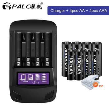 цена на PALO original AA AAA rechargeable battery aa 1.2V NIMH+Smart LCD AA AAA battery charger for AA fast charger intelligent charger