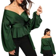Autumn Women Sexy Tops And Blouses White Shirt Lady Office Elegant Lantern Sleeve Surplice  Peplum Off The Shoulder Solid Blouse недорого