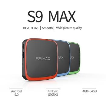 S9 Max Android 9.0 TV Box Amlogic S905X3 2.4G/5G Dual Wifi  3D 4k Media Player 4G RAM 64GB ROM Google Play Smart Set Top Box