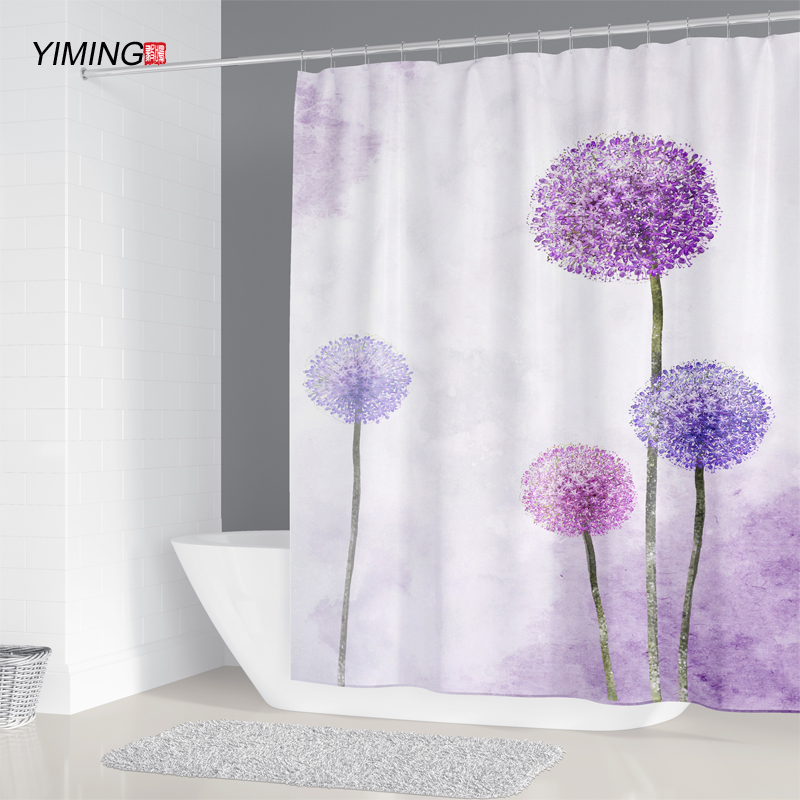 Floral Shower Curtain Colorful Dandelions Print for Bathroom