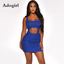 купить Adgoirl Sexy Bandage Cut Out Pit Striped Mini Dress Spaghetti Straps Lace Up Spliced Party Night Dress Clubwear Vestidos дешево