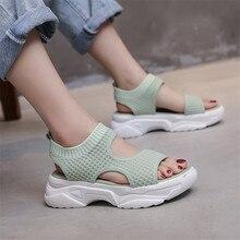 New summer women s thick heeled sandals  mesh thick soled white shoes  slope heeled thick soled sandals  cute girls beach shoes