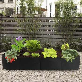 Fabric Garden Plant Bed, 8-Hole Rectangular Planting Container Planting Bag Planter Potted Plant, Flower, Vegetable Planting Bag
