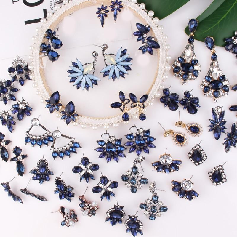 LUBOV 32 Kinds Geometric Crystal Blue Stone Piercing Earrings Gold Color Metal Drop Earrings Trendy Women Party Jewelry