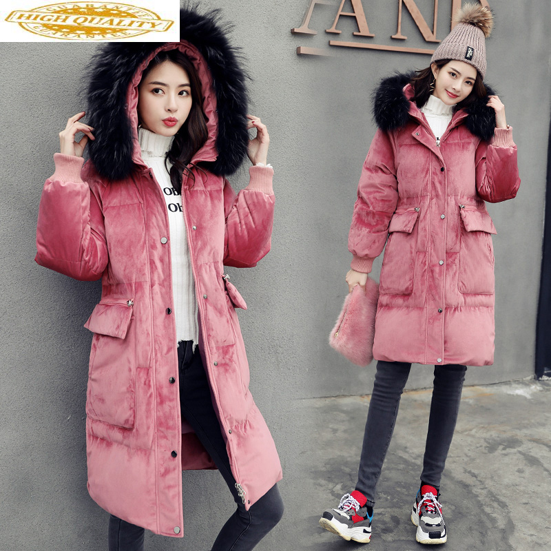 2020 Women's Winter Down Jacket Long Coat Women Big Fur Collar Fashion Warm Jackets For Women Chamarras De Mujer KJ731