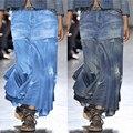 Women's wash Vintage denim skirt 2021 spring / summer skirt European American street casual irregular high waist elegant dress