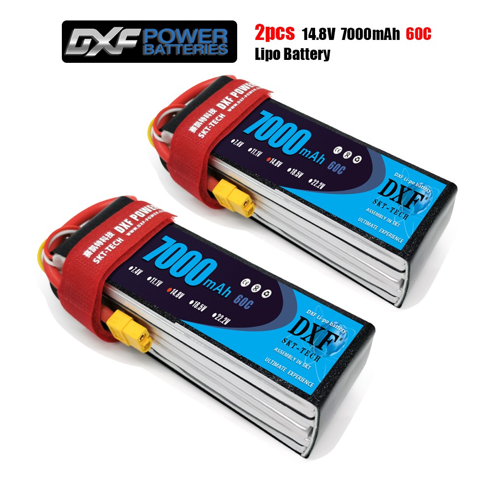 2PCS DXF Battery Lipo 2S 3S 4S 7.4V 11.1V 14.8V 7000mah 60C Hardcase Graphene For RC TRXX Car Boat Helicopter