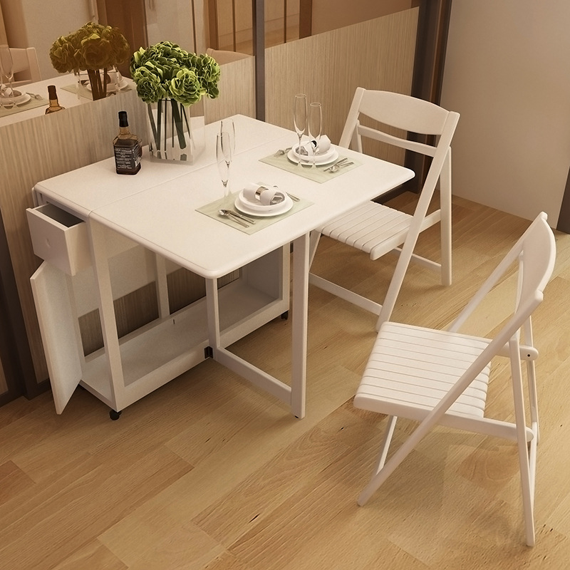 Simple Modern Small Apartment Dining Table And Chair Retractable Dining Room Solid Wood Dining Table Rectangular Folding Dining