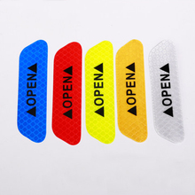 Daefar 4Pcs/set Car Door Stickers Universal Safety Warning Mark OPEN High Reflective Tape Motorcycle Bike Helmet Sticker