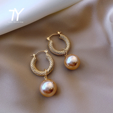 2020 new elegant woven circle Pearl Pendant Earrings versatile temperament jewelry fashion women's classic dangle Earrings