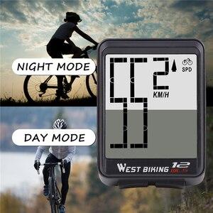 Image 2 - WEST cycling compteur de vélo sans fil, grand écran, étanche, ordinateur de vélo, chronomètre de vitesse, chronomètre de vélo avec rétro éclairage